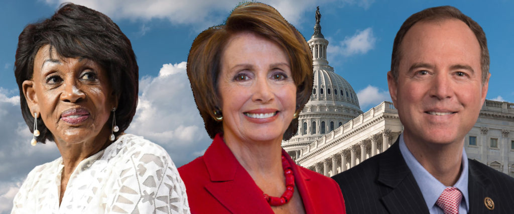 Image result for a photo of Adam schiff, nancy pelosi and Maxine Waters together